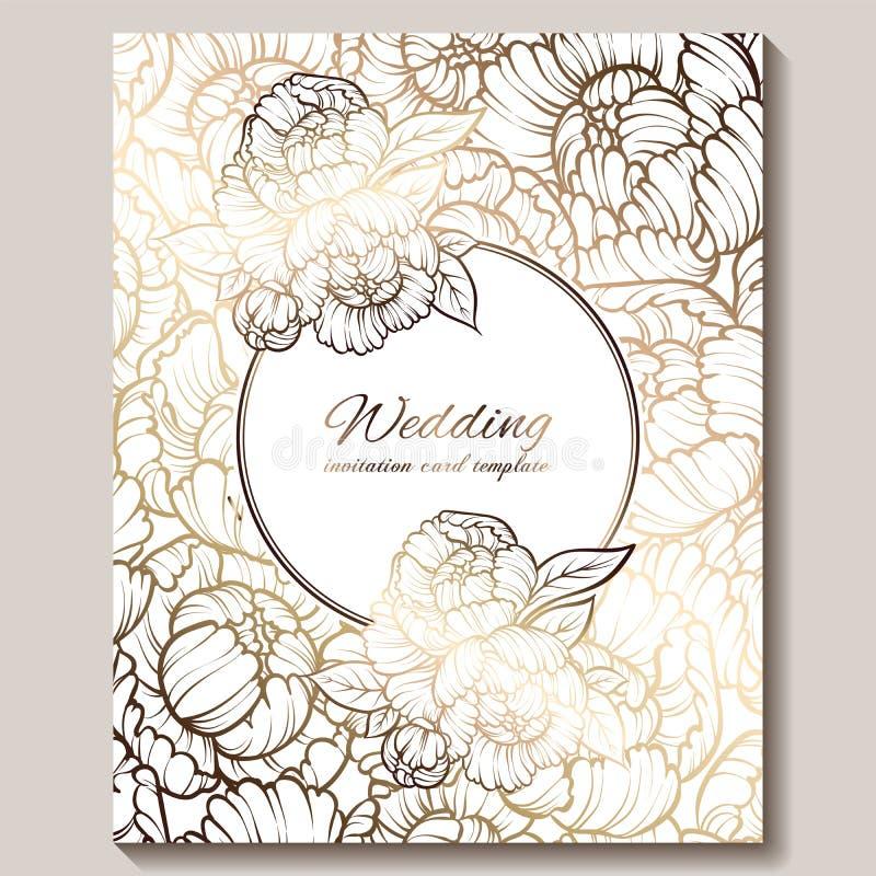 Invitación que se casa de lujo real antigua, oro en el fondo blanco con el marco y el lugar para el texto, follaje de encaje hech stock de ilustración
