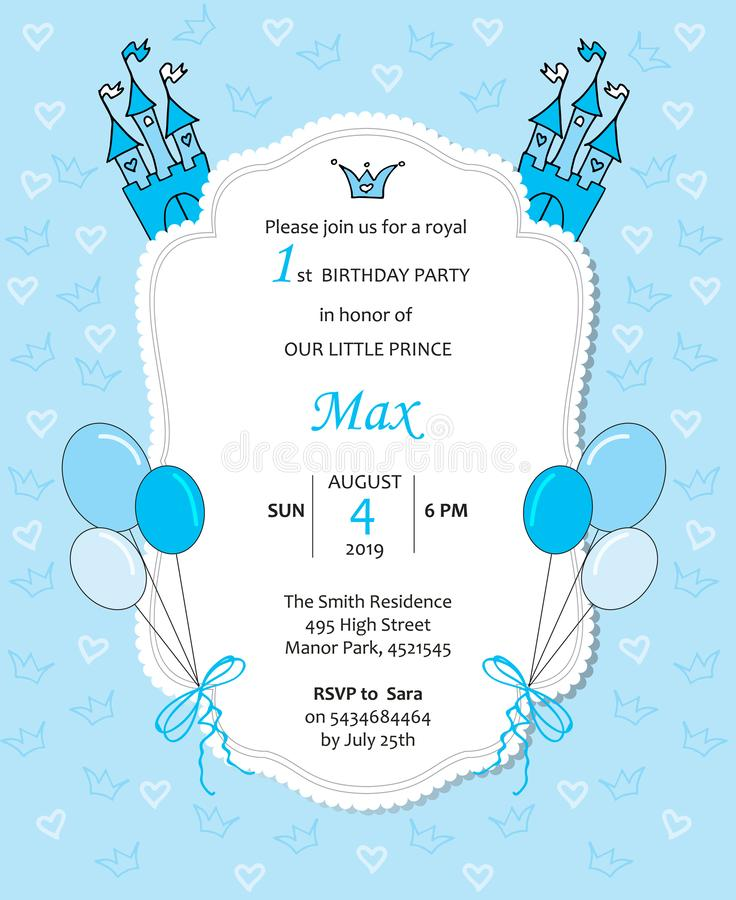 Invitación real del cumpleaños del bebé con los globos, el castillo, los corazones y las coronas stock de ilustración