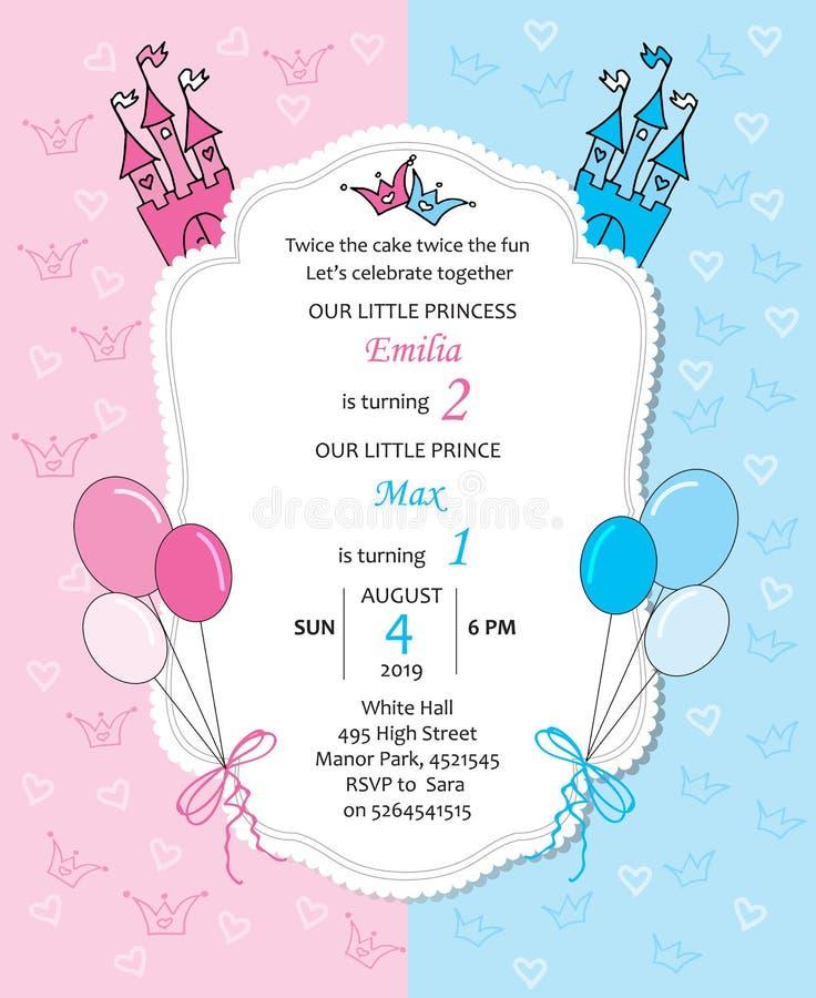 Invitación real del cumpleaños del bebé y del bebé con los globos libre illustration