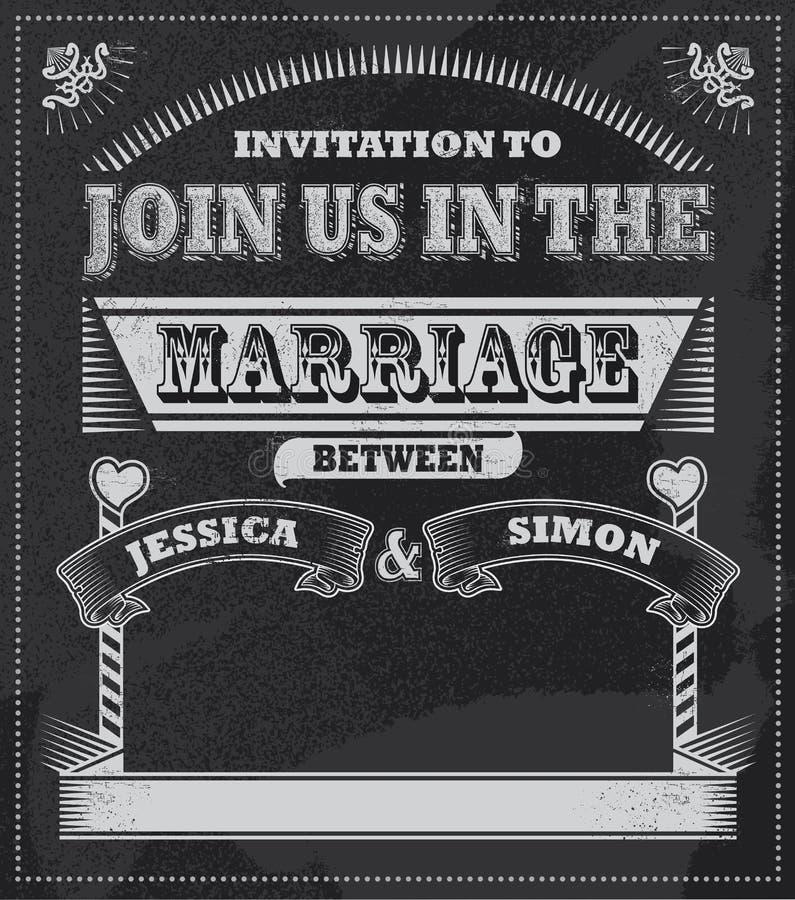 Invitación retra de la pizarra de la boda del vintage stock de ilustración
