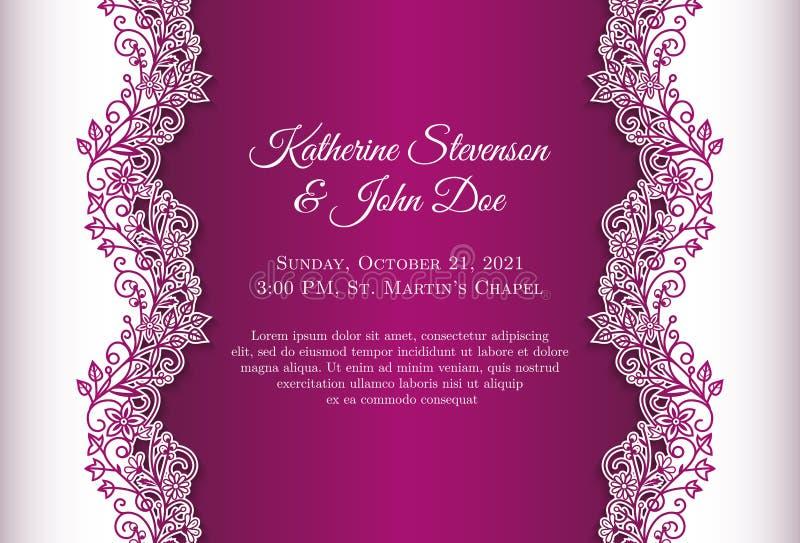 Invitación romántica de la boda con el fondo azul a stock de ilustración