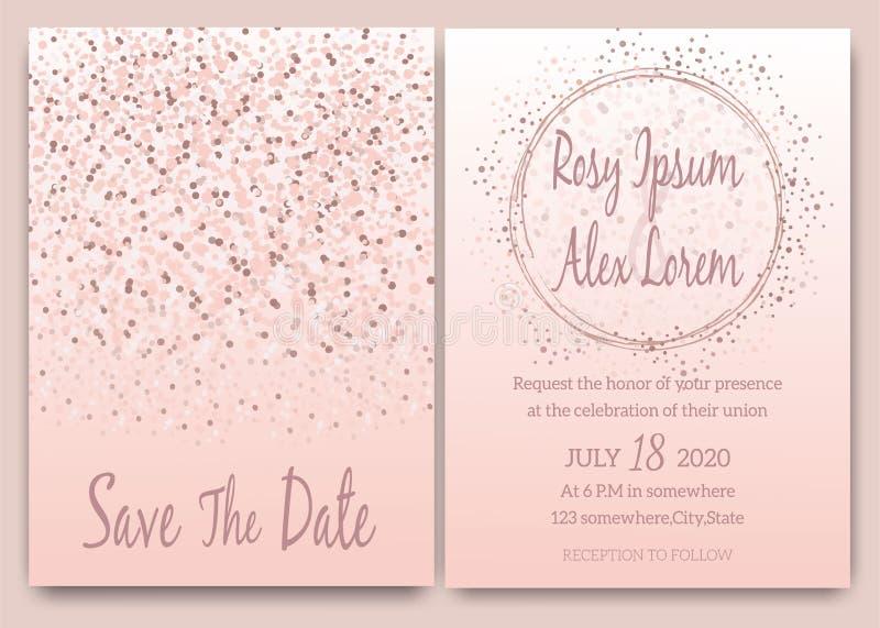 Invitación rosada de la invitación de boda del brillo del oro de Rose stock de ilustración
