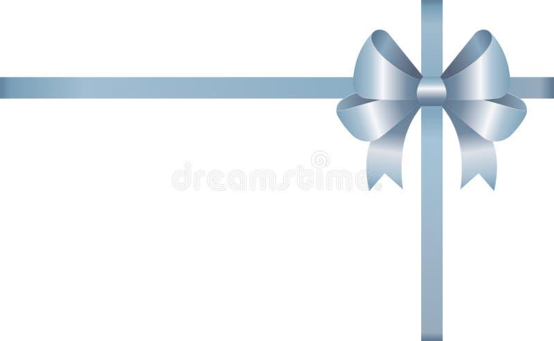 Invitación, saludo o carte cadeaux con Blue Ribbon y un arco en el fondo blanco stock de ilustración