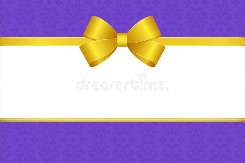 Invitación, saludo o carte cadeaux con la cinta amarilla y un arco en fondo decorativo de los elementos libre illustration