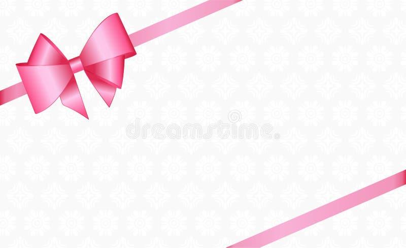 Invitación, saludo o carte cadeaux con la cinta rosada y un arco en un fondo libre illustration