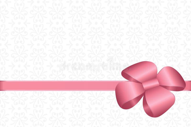 Invitación, saludo o carte cadeaux con la cinta rosada y un arco en fondo decorativo de los elementos ilustración del vector