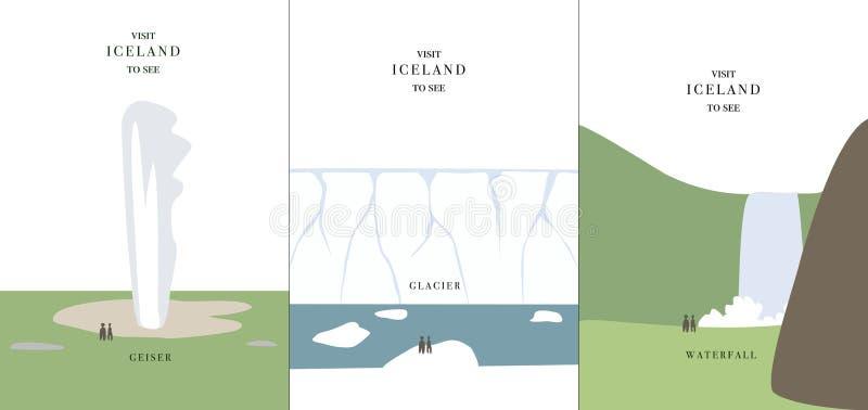Invitación simple de Islandia del ejemplo del vector del diseño de la historieta de la cascada del glaciar del géiser ilustración del vector