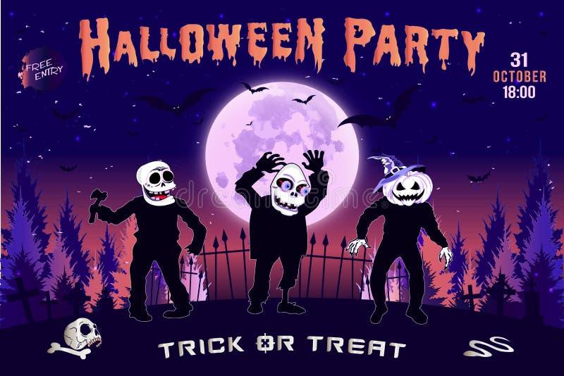 Invitación a un partido de Halloween, el ejemplo horizontal de tres zombis stock de ilustración