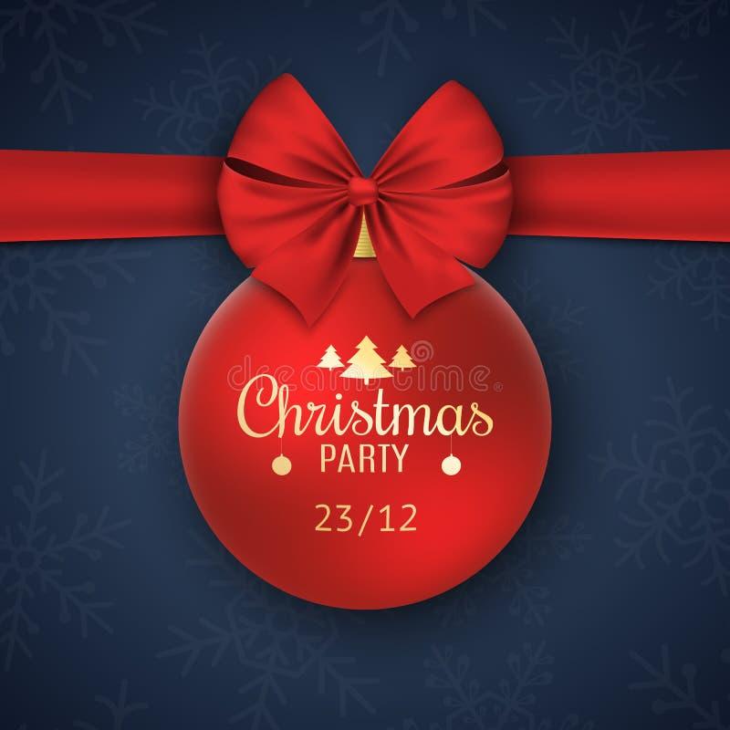 Invitación a una fiesta de Navidad Bola roja con la cinta roja en un fondo azul marino con los copos de nieve Texto del oro Vecto ilustración del vector