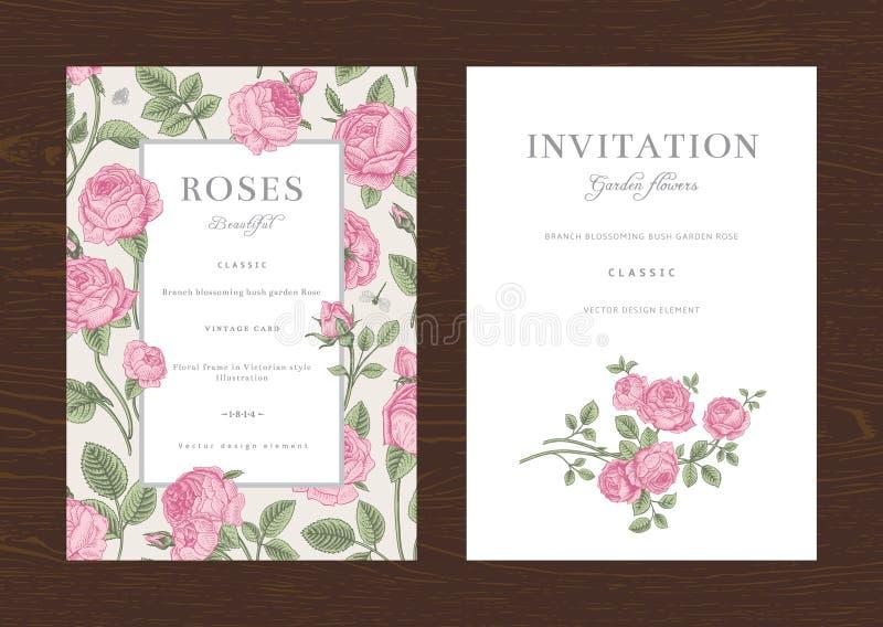 Invitación vertical del vintage del vector floral ilustración del vector