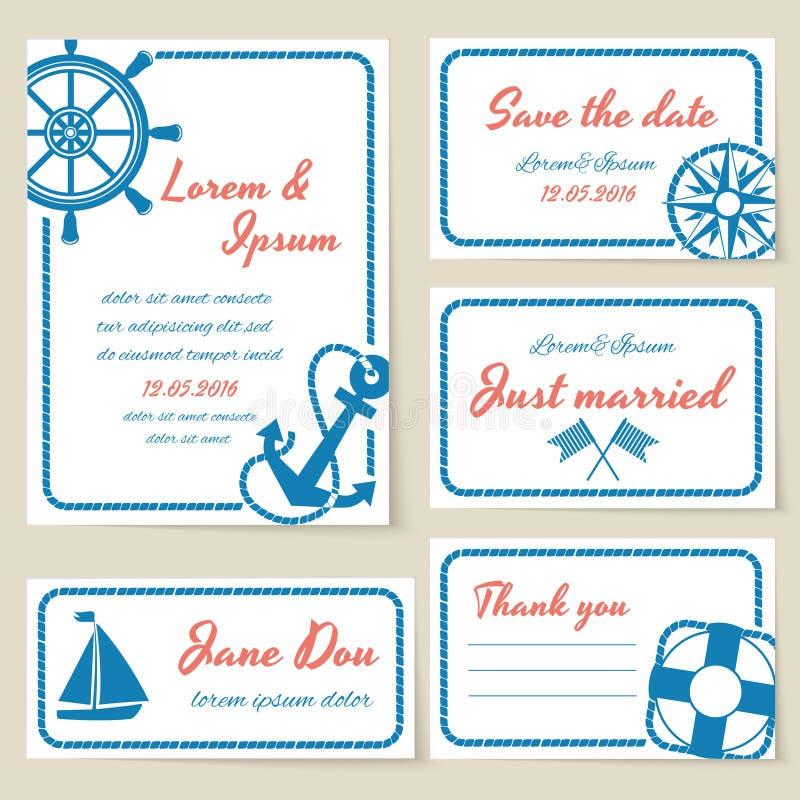 Invitación y tarjetas náuticas de la boda del estilo libre illustration