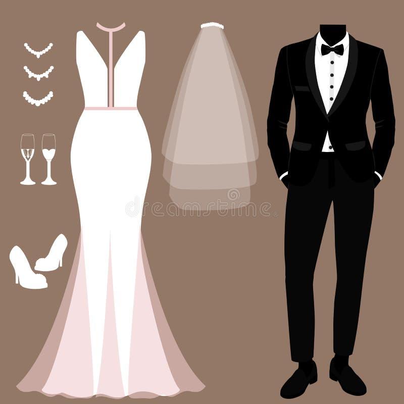 Invitaci?n de boda con la ropa de la novia y del novio Conjunto Wedding ilustración del vector