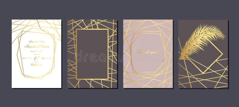 Invitaci?n de la boda del oro Tarjetas de lujo de la invitación que se casan con la textura de mármol del oro y la plantilla geom libre illustration