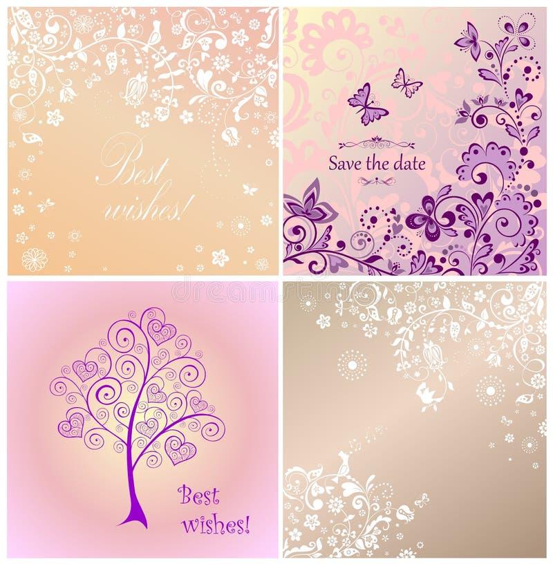 Invitaciones de boda hermosas ilustración del vector