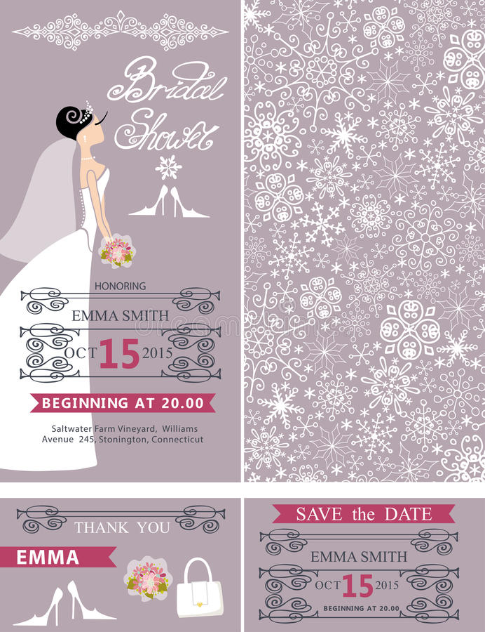 Invitaciones de boda nupciales de la ducha Novia, ornamento del invierno stock de ilustración