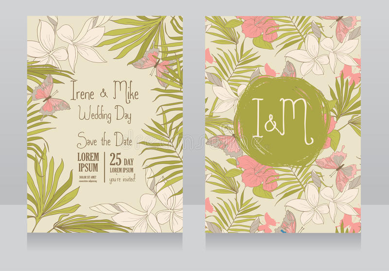 Invitaciones de la boda en estilo tropical con las flores y las mariposas del hibisco stock de ilustración