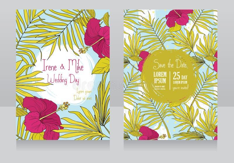 Invitaciones de la boda en estilo tropical con las flores y las mariposas del hibisco ilustración del vector