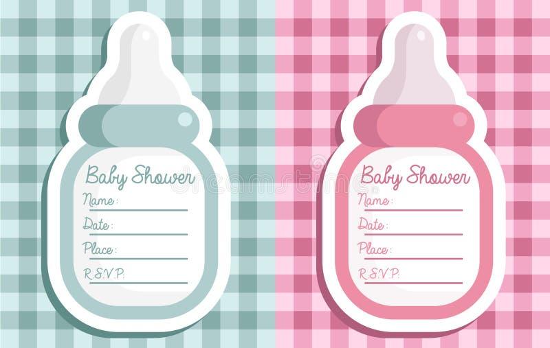 Invitaciones de la botella de la fiesta de bienvenida al bebé ilustración del vector