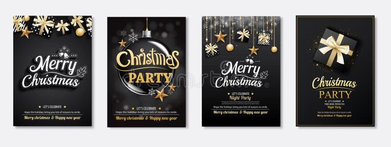 Invitaciones de la tarjeta y del partido de felicitación de la Feliz Navidad en el CCB negro stock de ilustración