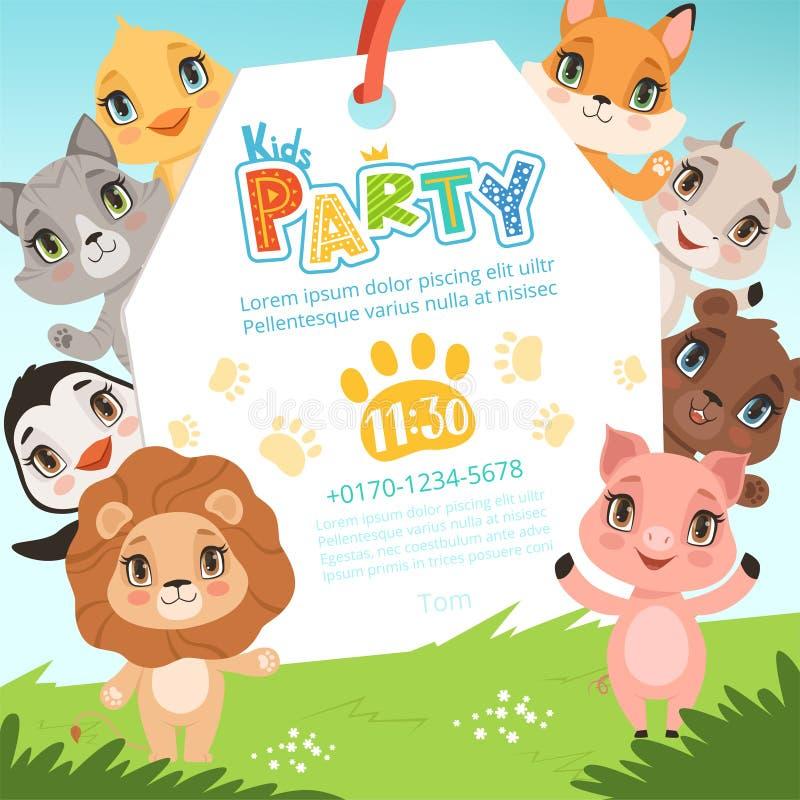 Invitaciones de los niños de los animales Los animales divertidos lindos de la selva en cartel del estilo de la historieta en la  stock de ilustración