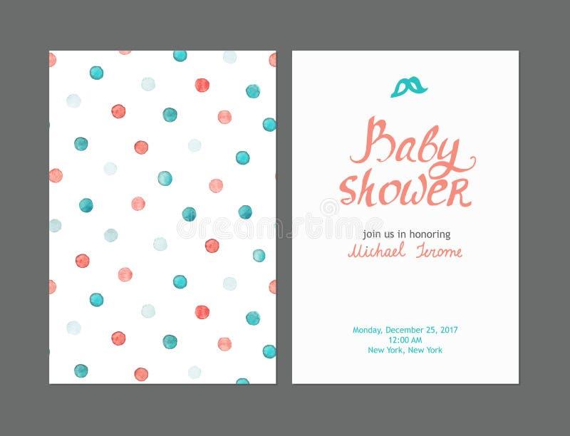 Invitaciones del muchacho de la fiesta de bienvenida al bebé, plantillas del vector fotografía de archivo