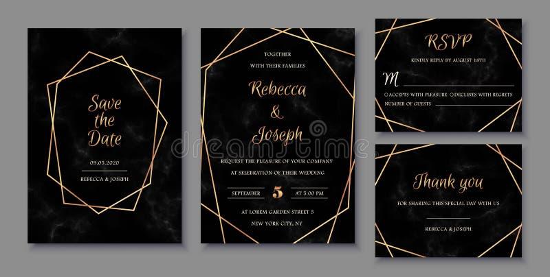 Invitaciones elegantes fijadas con los marcos geométricos de oro y la textura de mármol negra stock de ilustración