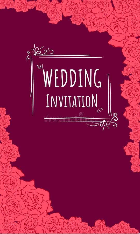 Invitaion de la boda en el fondo de Borgoña y las rosas rojas stock de ilustración
