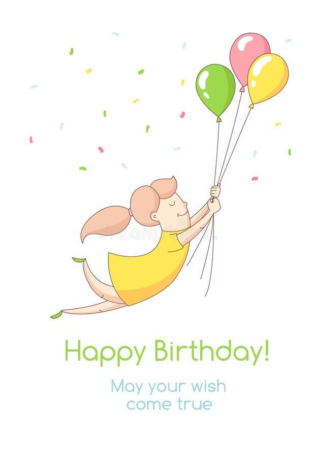 Invitatio поздравительной открытки партии иллюстрации вектора с днем рождения бесплатная иллюстрация