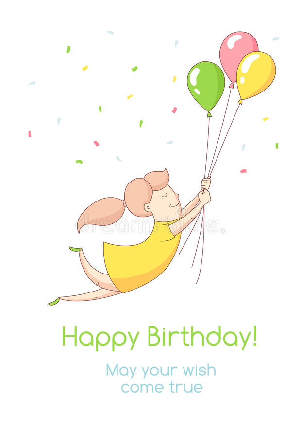 Invitatio della cartolina d'auguri del partito di buon compleanno dell'illustrazione di vettore royalty illustrazione gratis