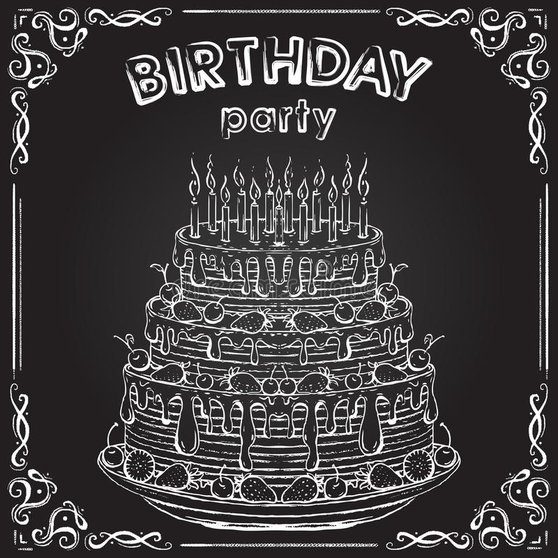 Invitation à la fête d'anniversaire avec le gâteau d'anniversaire sur le tableau illustration stock