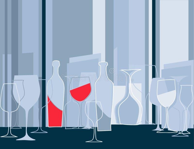 Invitation à la réception de cocktail dans le rétro type illustration stock