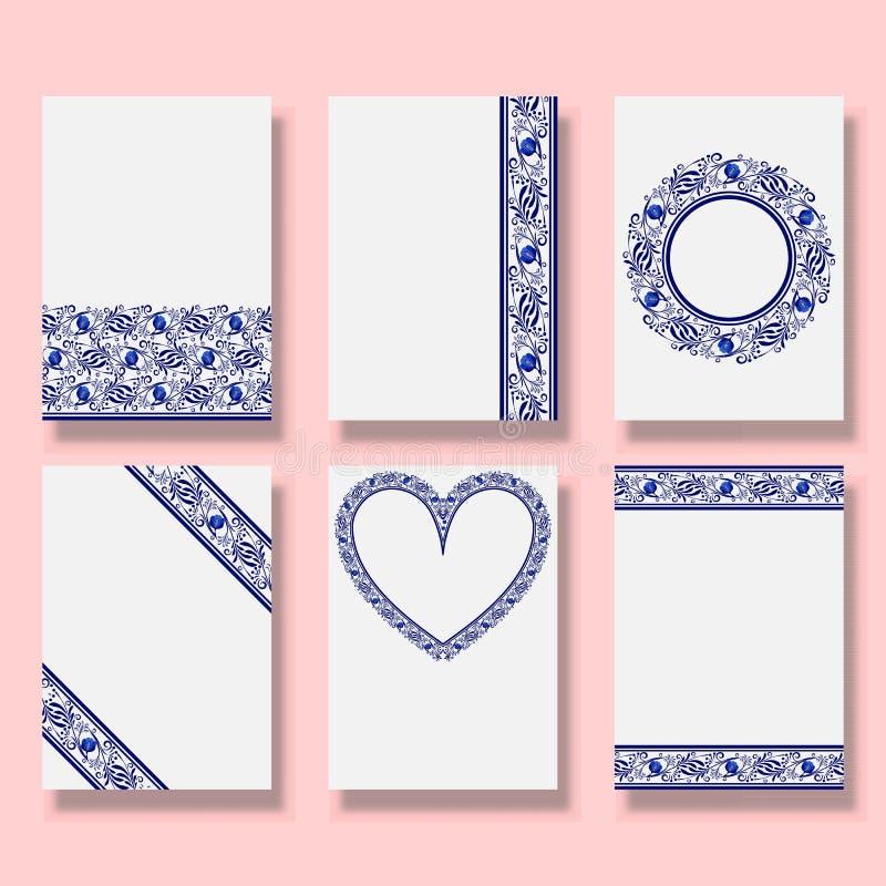 Invitation à thème de mariage Ensemble de cartes de remerciement, rsvp, affiches Collection de modèles de conception Modèles ethn illustration libre de droits