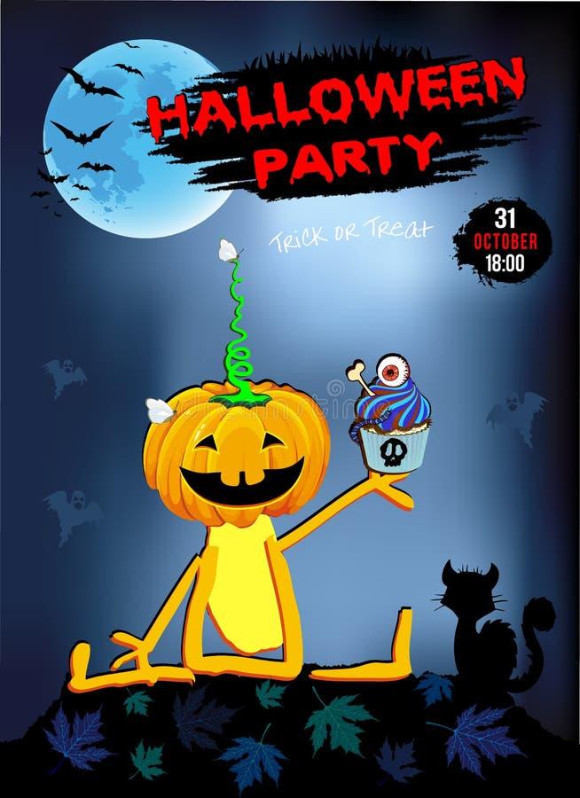 Invitation à un amusement de potiron de Halloween de partie avec le gâteau, fond bleu illustration de vecteur
