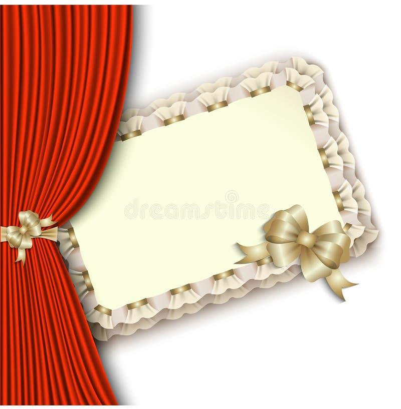 Invitation élégante avec l'arc d'or et le rideau rouge illustration de vecteur