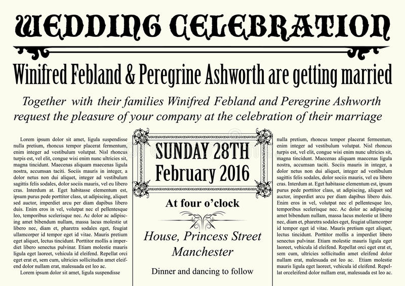 invitation élégante de mariage de vieux style de journal illustration libre de droits