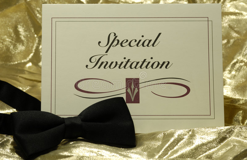 Invitation. Photo of an Invitation and a Bow Tie - Event Related royalty free stock photography