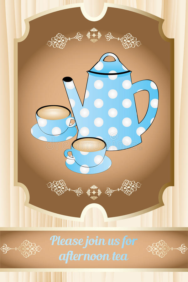 Invitation for afternoon tea. Retro style teapot and cups on table in brown and title please join us for afternoon tea vector illustration