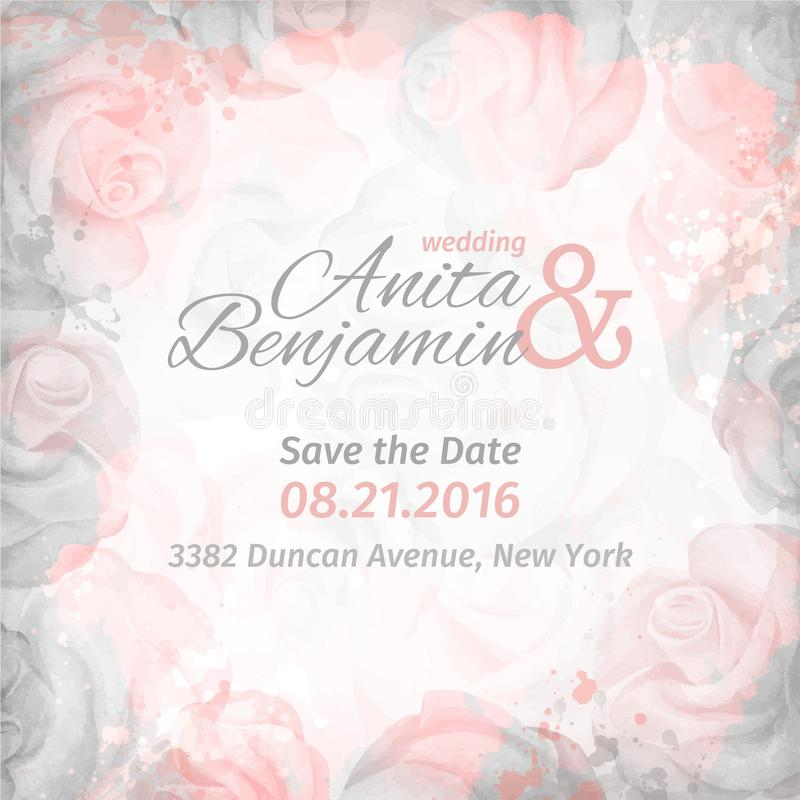 Invitation au mariage Fond rose romantique abstrait dans des couleurs roses et grises Descripteur de vecteur illustration libre de droits