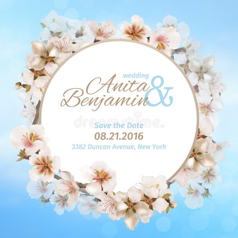 Invitation au mariage Sakura de floraison sur le fond de ciel Descripteur de vecteur illustration de vecteur