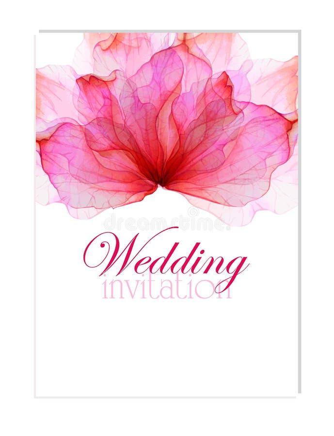 Invitation avec des pétales de fleur d'aquarelle illustration libre de droits