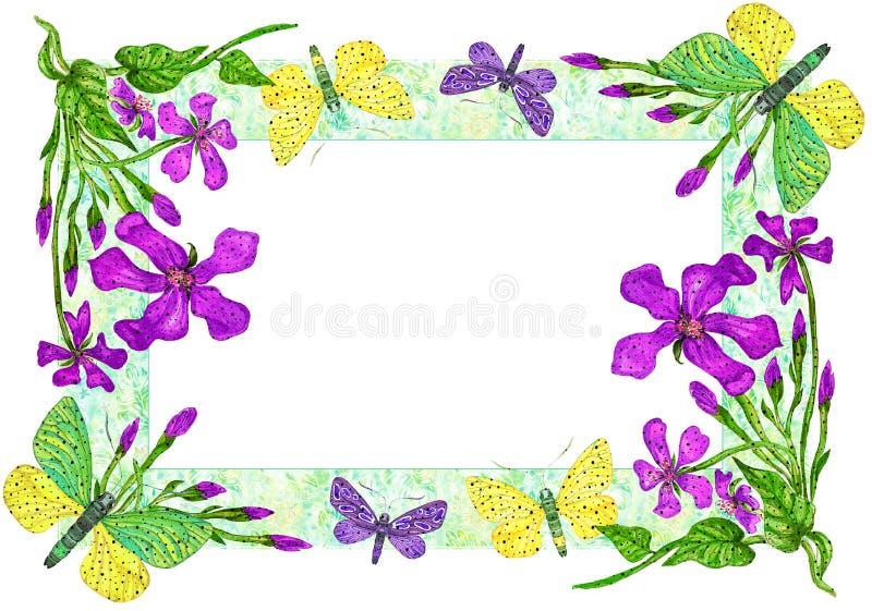 Invitation avec l'illustration d'aquarelle de papillons et de fleurs illustration libre de droits