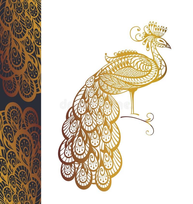 Invitation avec le paon d'or illustration stock