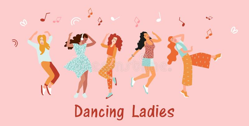 Invitation banner dancing for women. Girls dance and move to the music at the festival or disco. Joyful emotions. Vector illustra royalty free illustration