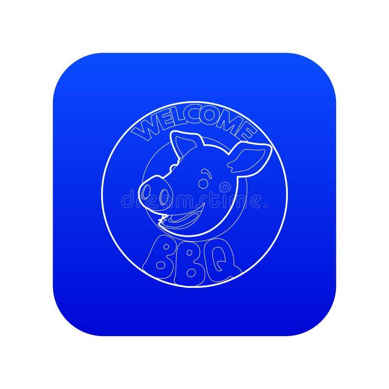 Invitation bienvenue de griller tout entier le vecteur bleu d'icône illustration de vecteur