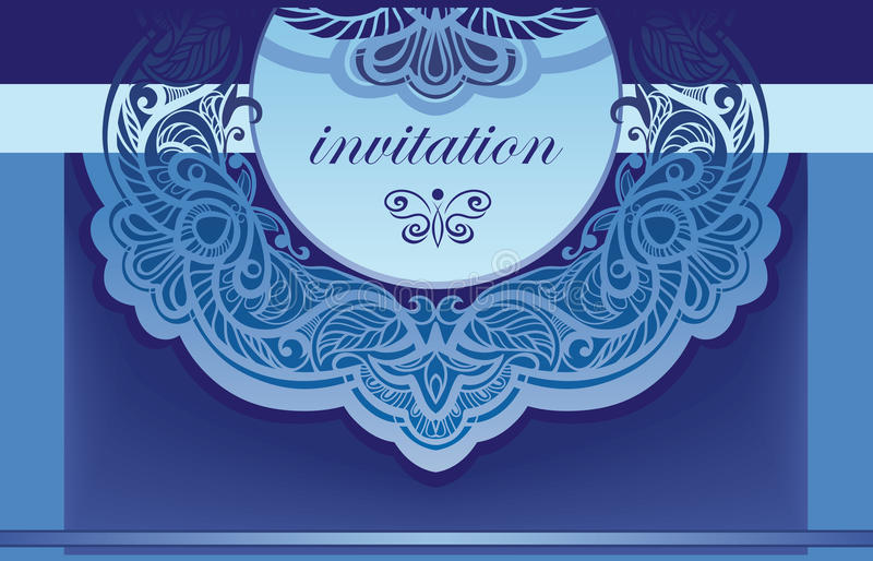Invitation in blue. Vector background for the cove vector illustration