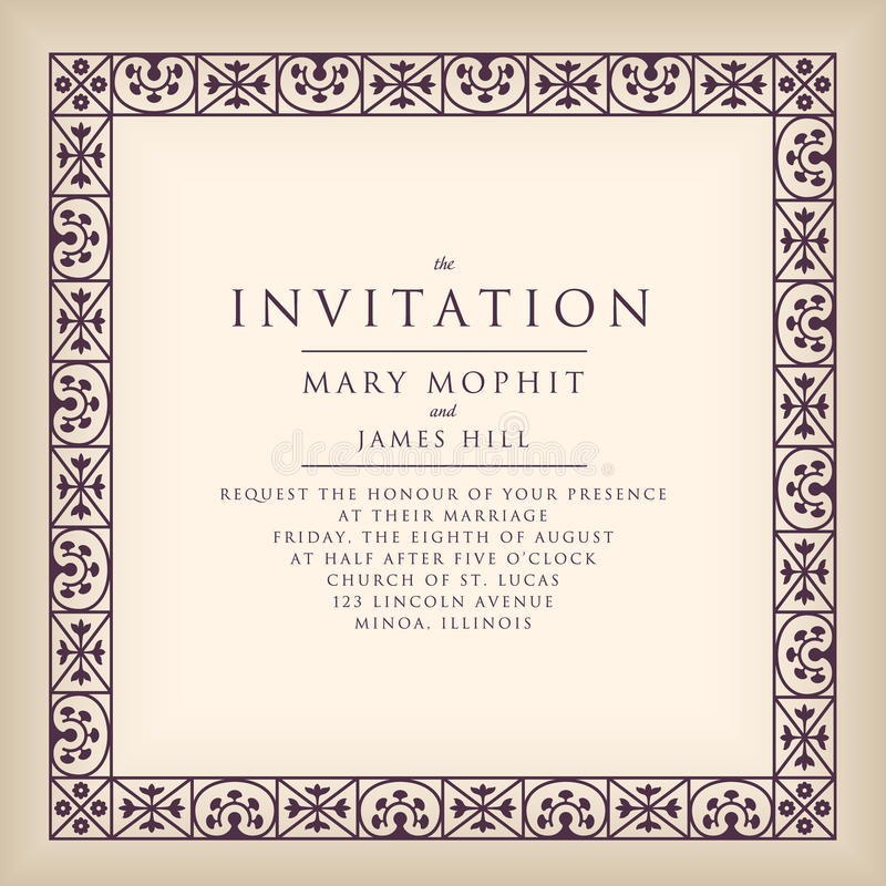 Invitation with border frame in Renaissance style. Template framework Wedding invitations or announcements with vintage stock illustration