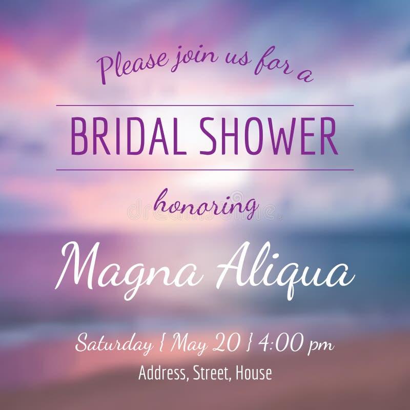 Invitation bridal shower card vector template royalty free illustration