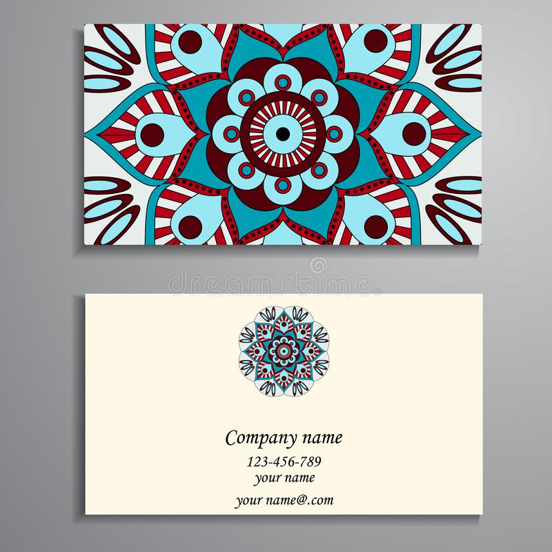 Invitation, business card or banner with text template. Round fl stock illustration