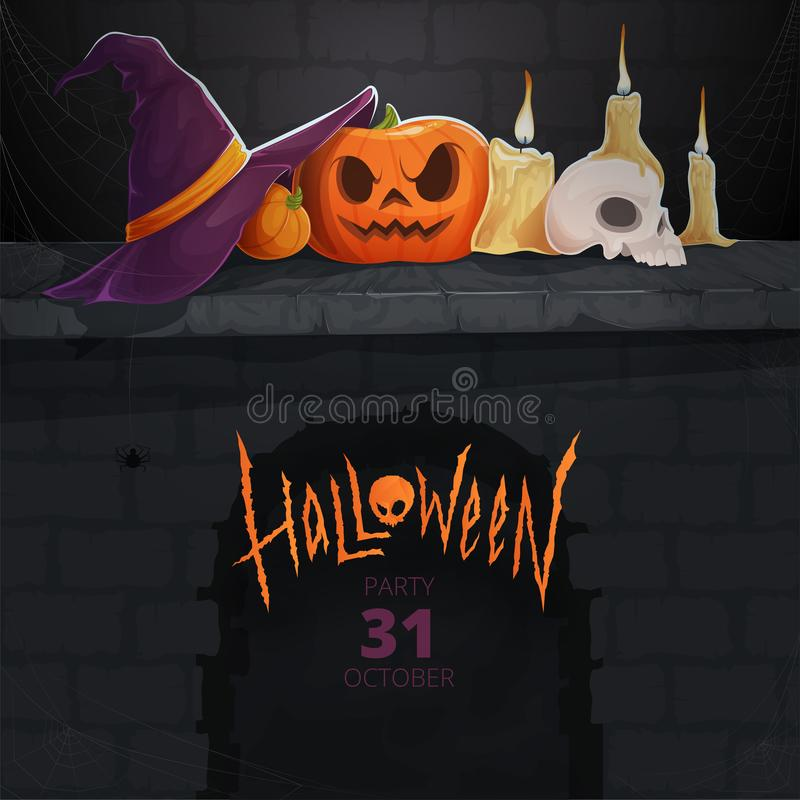 Invitation card. Background for Halloween with a carved pumpkin, sinister skull, candles and witches hat with spider webs. Vector illustration royalty free illustration