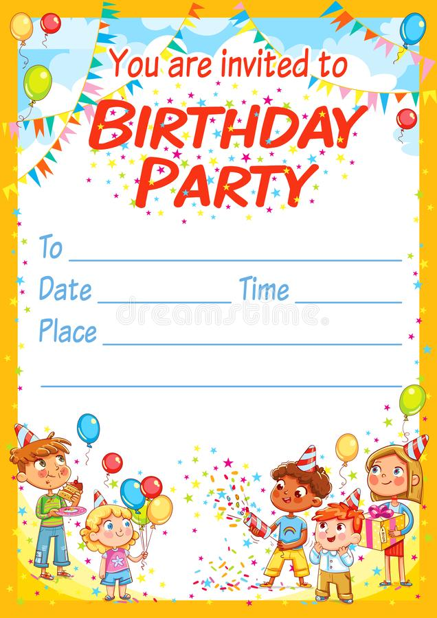 Invitation card for the birthday party. Happy group of children having fun at birthday party. Template design brochure ready for your text. Funny cartoon vector illustration